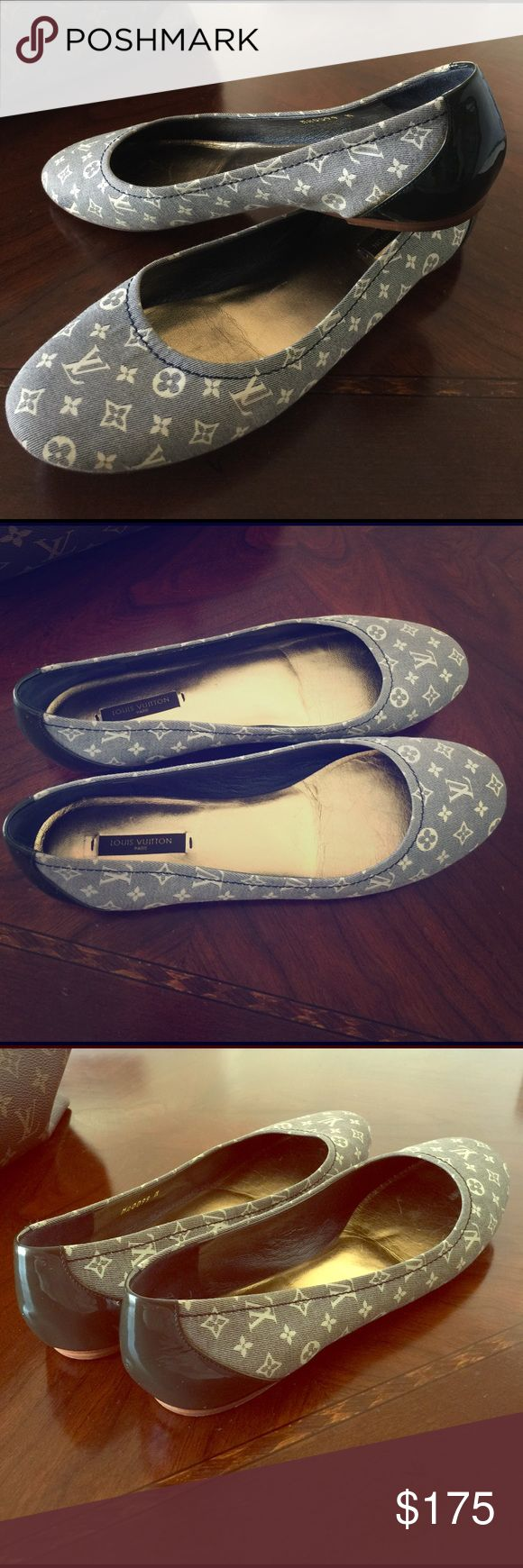 Louis Vuitton flats Used authentic Louis Vuitton ballet flats.  Navy with off white monogram.  Kept in good condition.  Sorry, box and dust bag no longer available. Louis Vuitton Shoes Flats & Loafers