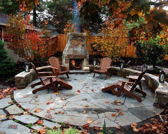 Wonderful Circular Stone Patio, Outdoor Fireplace. (30 Impressive Patio  Design Ideas)