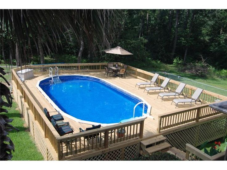 Above Ground Pool Ideas landscaping around base of intex ultra frame pools page 4 Above Ground Pool With Custom Decking