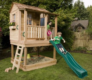 Outdoor playhouses sandbox and outdoor on pinterest for Playhouse with garage plans