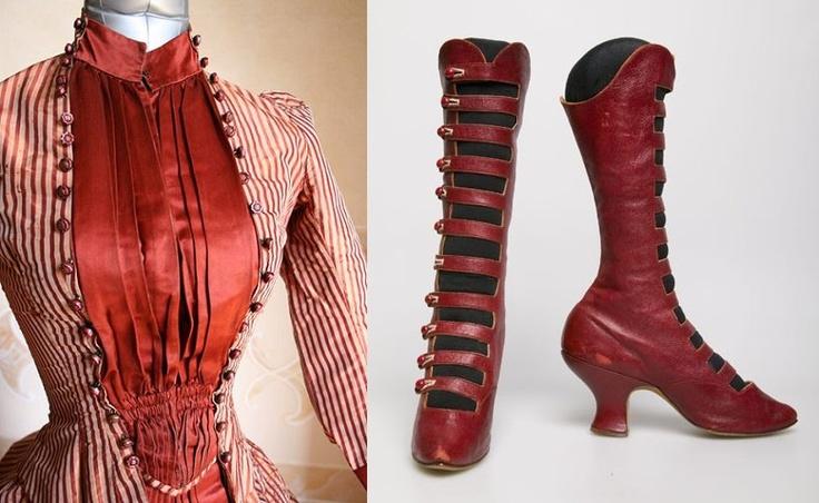 Dress, ca 1884, Abiti Antichi. Women's boots, c. 1890. chicagohistory.org    http://sphotos-b.xx.fbcdn.net/hphotos-prn1/74995_247865418679569_776304998_n.jpg