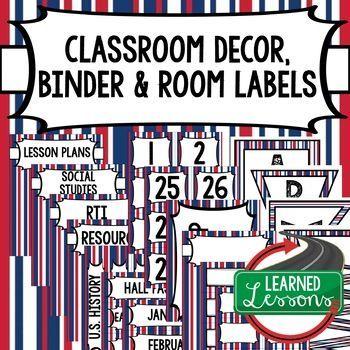 CLASSROOM DECOR, BINDER LABELS, Patriotic Stripes