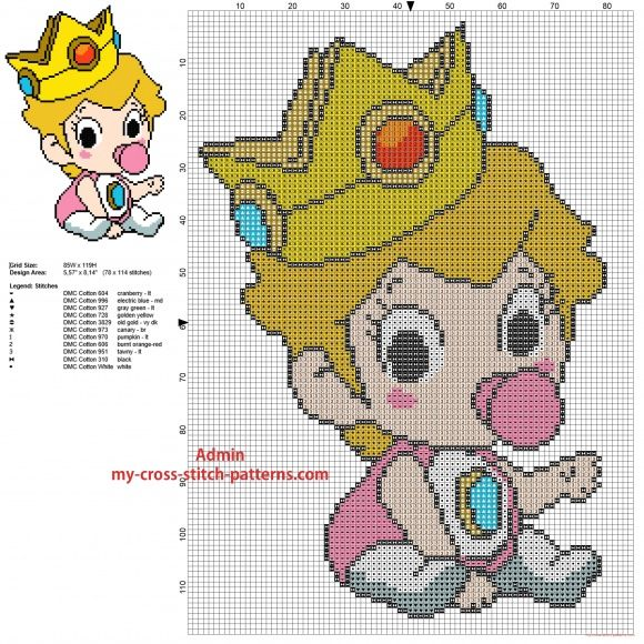 Baby Princess Peach Super Mario Bros videogame character free cross stitch pattern