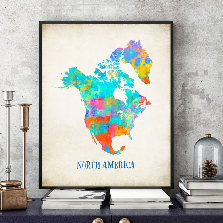 North America Map Wall Art, North America Map Print, Map Of North America Poster, Watercolour North America Continent Map, Home Decor (720) by PointDot on Etsy