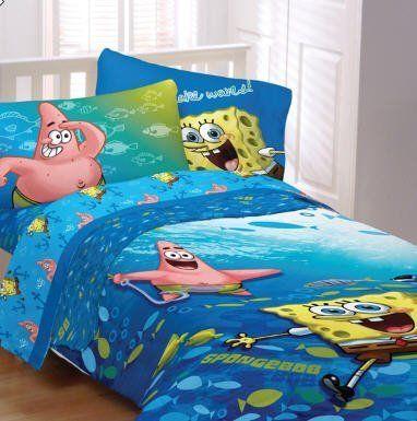 Spongebob squarepants fish swirl twin comforter sheet for Fish bedding twin