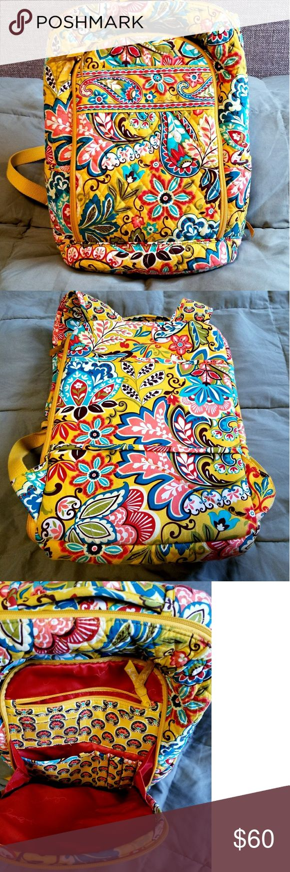 """Yellow Vera Bradley backpack with laptop pocket. Like new yellow Vera Bradley backpack with laptop pocket. Adjustable straps. Body is 100 %cotton  Front pocket has built in wallet and zipper pocket for change. 4 pen/pencil pockets and 1 small pouch pocket 5.25"""" 2 side pockets  1 large zip pouch Double sided laptop compartment with a velcro strap. Good for small laptop or notebook.  11""""x 15""""x 6.5"""". Vera Bradley Bags Backpacks"""