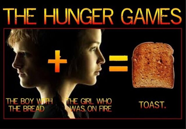 The boy with the bread+the girl on fire=toast