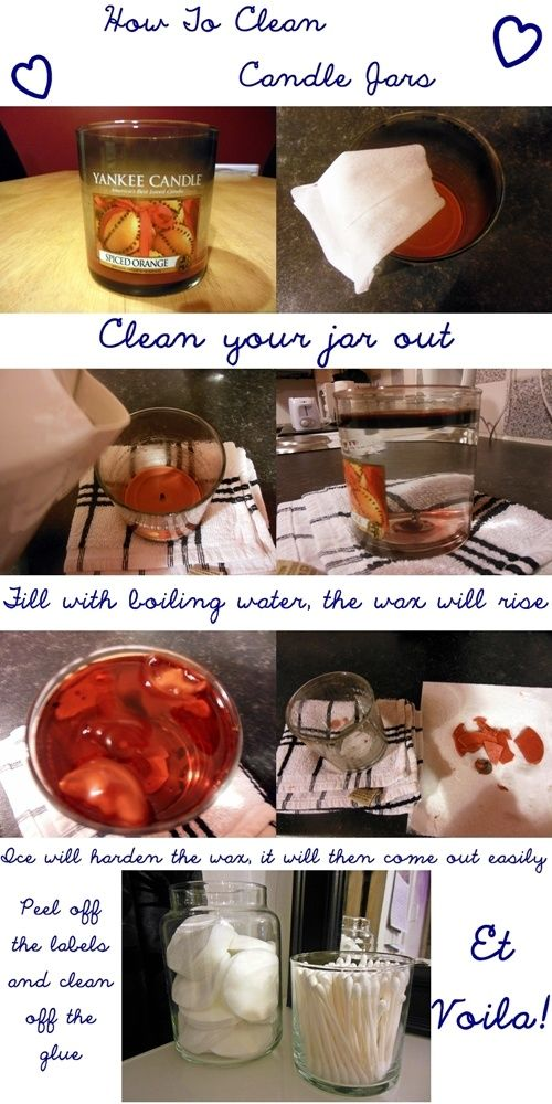 Step by step guide on how to clean out old candle jars! **SUPER easy! And you can use the wax in your wax warmer!**