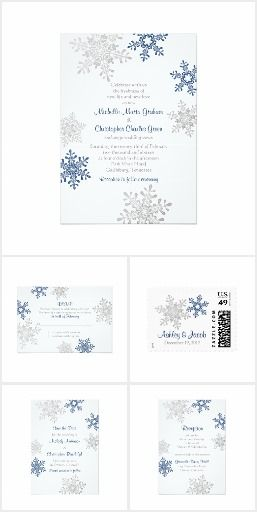 Navy Blue Silver Snowflake Winter Wedding Navy blue and silver gray winter snowflake wedding invitation collection. Bold and modern snowflake winter wedding invite set design. Available for purchase are a wedding invitation, reply card, save the date invitation, table cards, place cards, thank you cards, and more.