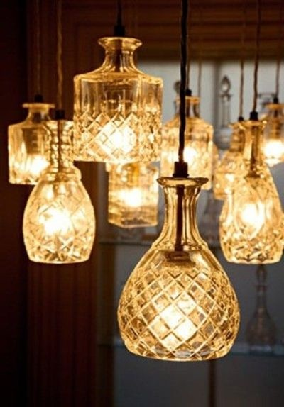 Crystal decanters used to create pendant lighting