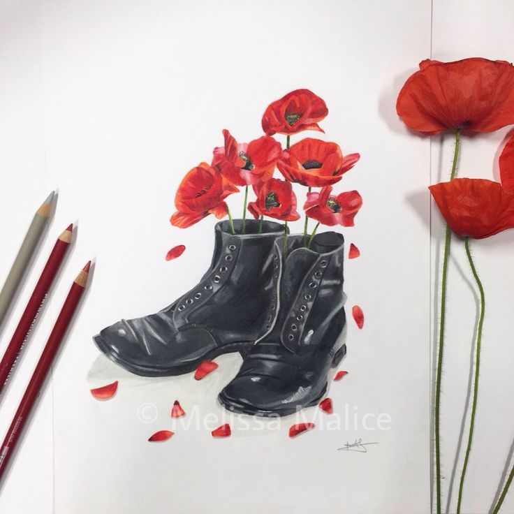 "Lest We Forget - 'Shoes of the Earth' series ❤️ Poppies growing within WW1 British army boots with 11 fallen poppy petals. ""We shall not sleep, though poppies grow in Flanders fields"" ❤️ Artist: Melissa Malice #LestWeForget #BritishArmy #ShoesOfTheEarth #Prismacolor Art"
