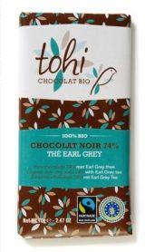 Tohi 70g. Ciocolata Organica neagră 74% cacao cu ceai Earl Grey