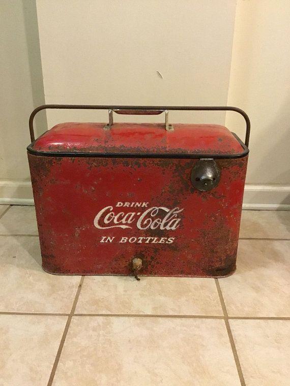 Vintage Coca Cola cooler / coke cooler w/bottle opener / parts or