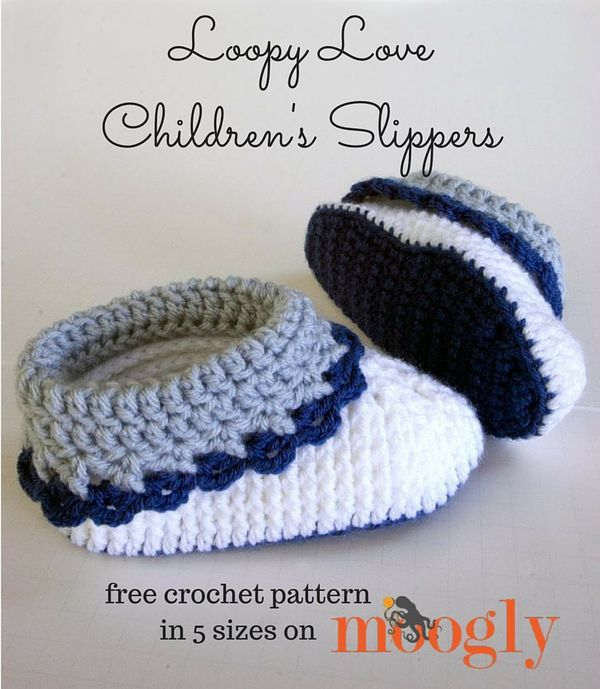 Loopy Love Children's Slippers - get all 5 sizes of this crochet pattern FREE on Mooglyblog.com!  #diy #gifts #christmas #kids #fall #holidays