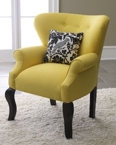 """""""Elise"""" chair: Grey Rooms, Colors Combos, Living Rooms, Accent Pillows, House Elise, Accent Chairs, Yellow Chairs, Haute Houses, Chairs Design"""