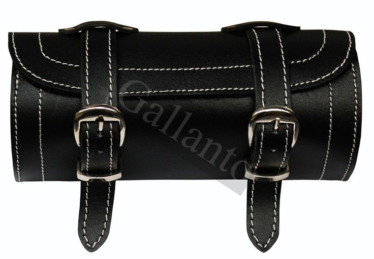 Plain Motorcycle Real Leather Tool Bag White Stitches