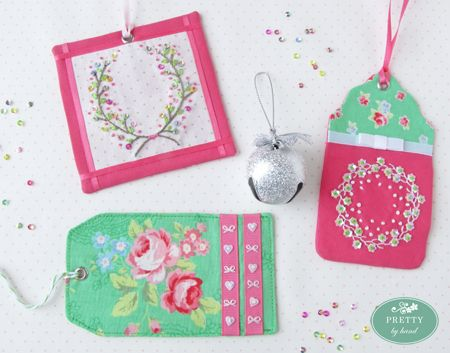2012 Holiday Tag-a-Long - Hot Pink  Kelly Green - Pretty By Hand