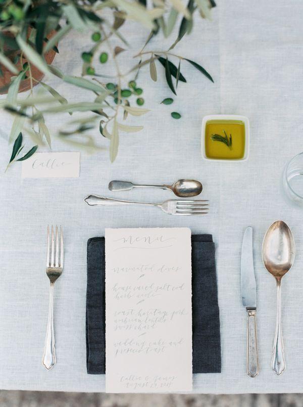 Italian inspiration // Styling: Lesley Lau / Photography: Brushfire Photography/ Flatware: Hélène Millot Furnishings
