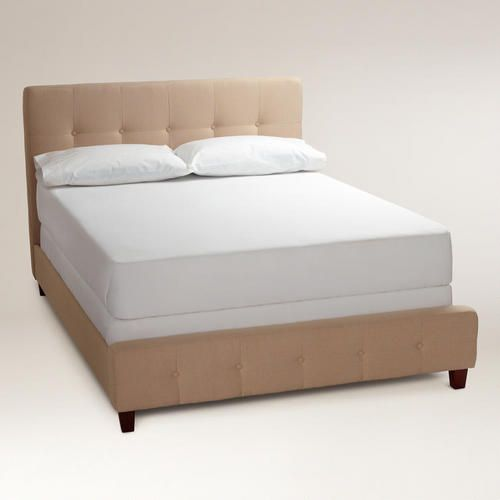 One of my favorite discoveries at WorldMarket.com: Oatmeal Draper Upholstered  Bed