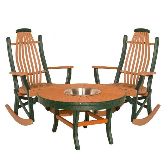 Amish Patio Poly 5 Piece Bentwood Rocker Conversation Set
