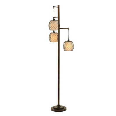 Bronze triple orb metal floor lamp metals floor lamps for Kirklands floor lamp with shelves