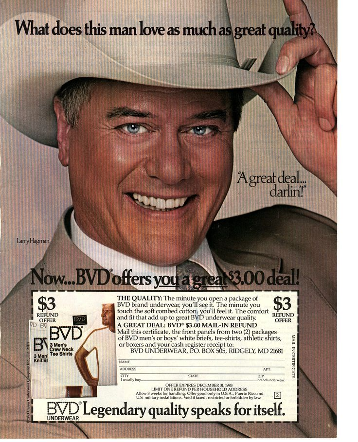 "1983 BVD Underwear print ad - endorsed by Larry Hagman (who portrays ""J. R. Ewing"" on CBS-TV's ""Dallas"")"