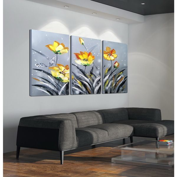 U0027The Blooming Yellow Flowersu0027 3 Piece Hand Painted Gallery Wrapped Canvas. 3  Piece Wall Art3 ...