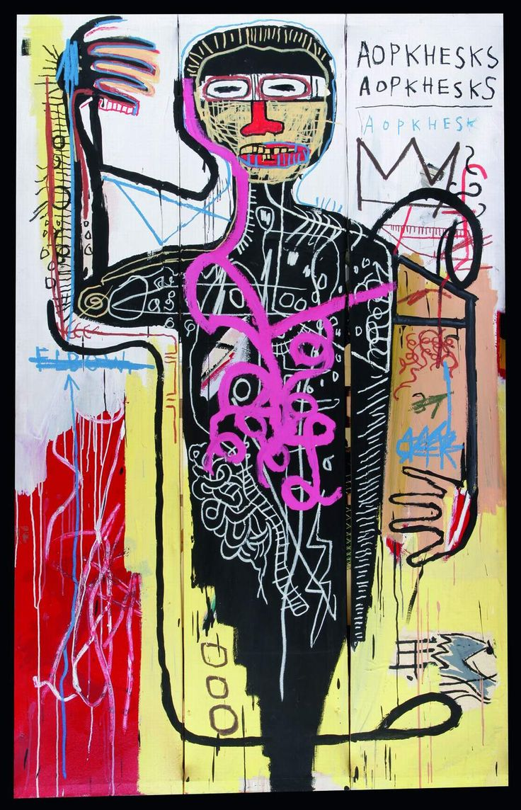 Jean-Michel Basquiat: Versus Medici, 1982. Basquiat was a graffiti Artist he never moved from there to being a painter except by dint of being  feted by the Art world once he was anointed he joined a long list of manufactured artists who created a career and millions of dollars. Some of his stuff is visually interesting as is a lot of Graffiti. Graffiti is the worlds Art Gallery there is more social comentry and artistic integrity in the  Art on the street than in Galleries.