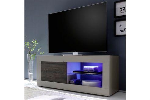 Meuble TV 1 porte Colmar  Beige mat et imitation wengé
