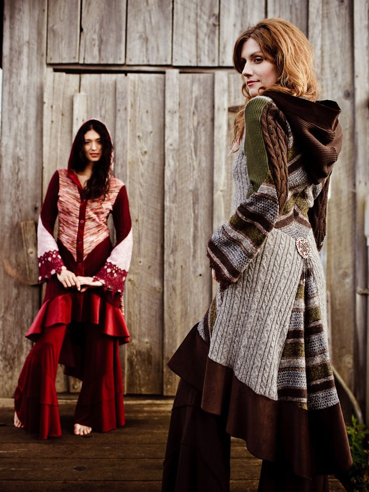 Recycled sweater coats - love the flared skirt and then the extra ruffle at the bottom.
