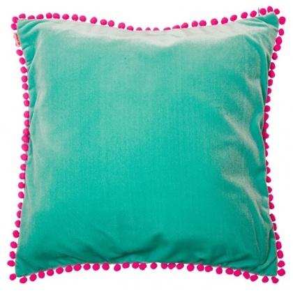 Velvet Pom Pom Cushion (aqua).