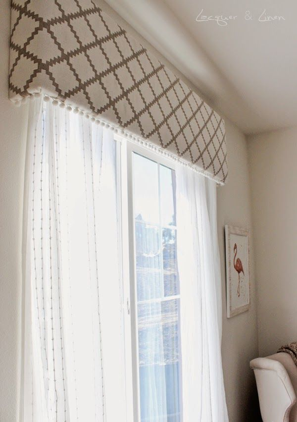 diy friday. from lacquer and linen blog. diy upholstered cornice. nursery, modern