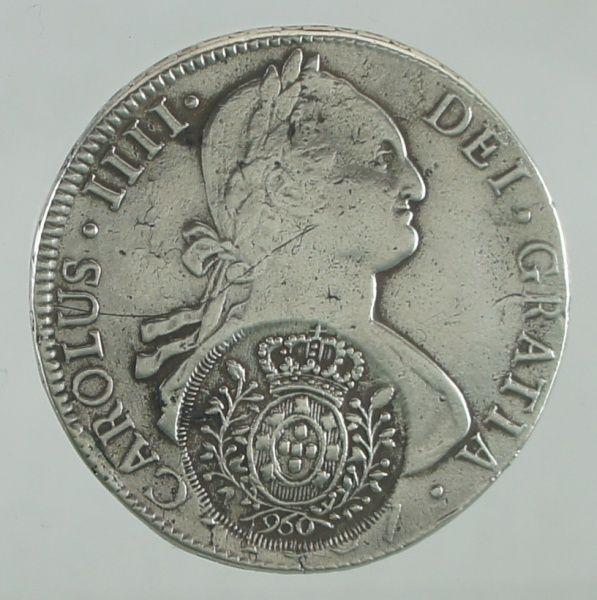 BRASIL colônia, moeda de prata, 960 Réis, carimbo de Mi..