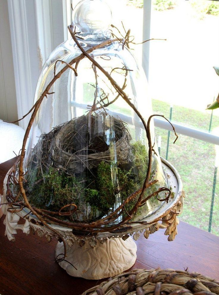 Die besten 25 osternest basteln moos ideen auf pinterest moos pflanzen pflanzentisch und - Glasglocke dekorieren ...