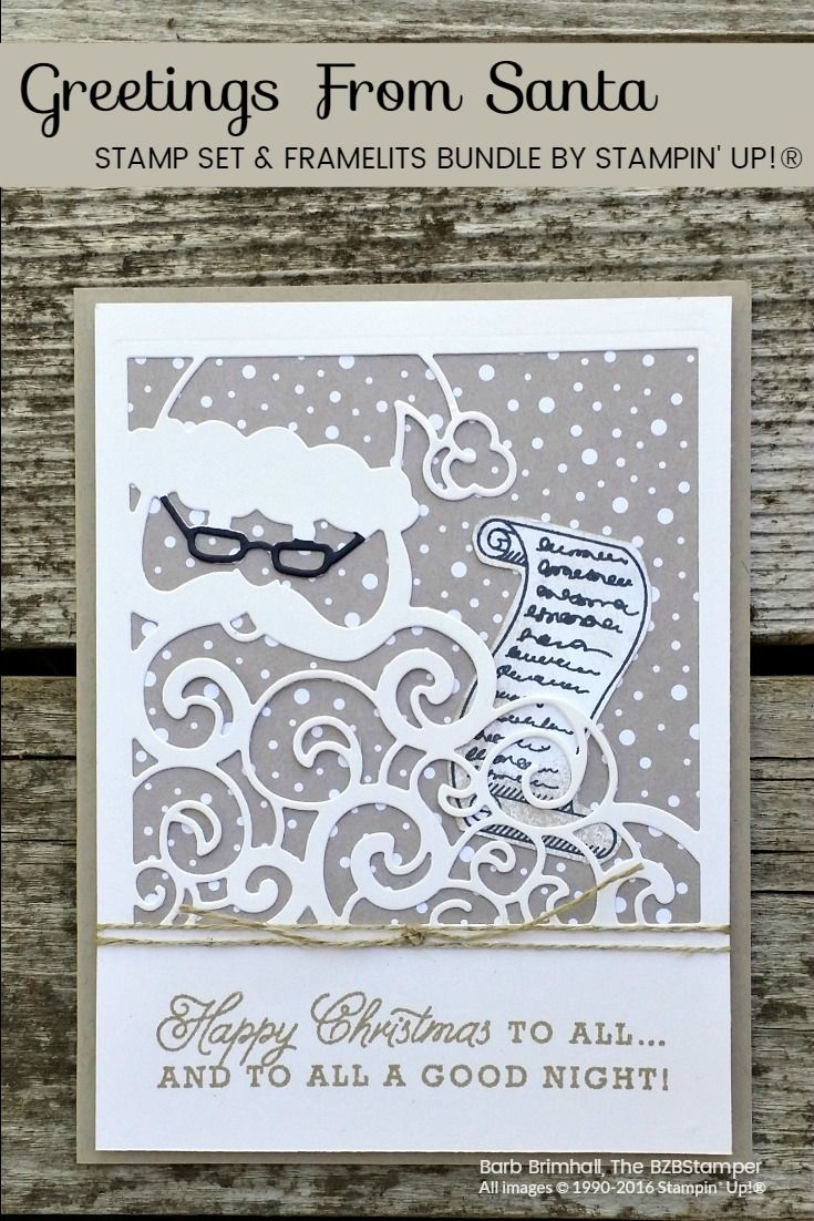 This fun 2016 Holiday Catalog bundle by Stampin' Up! features the Greetings From Santa exclusive stamp set and coordinating Detailed Santa Thinlits die.  Use with the new Candy Cane Lane Designer Paper and you have a quick & easy Christmas Card!  Tutorial on my blog at bzbstamper.com via @bzbstamper