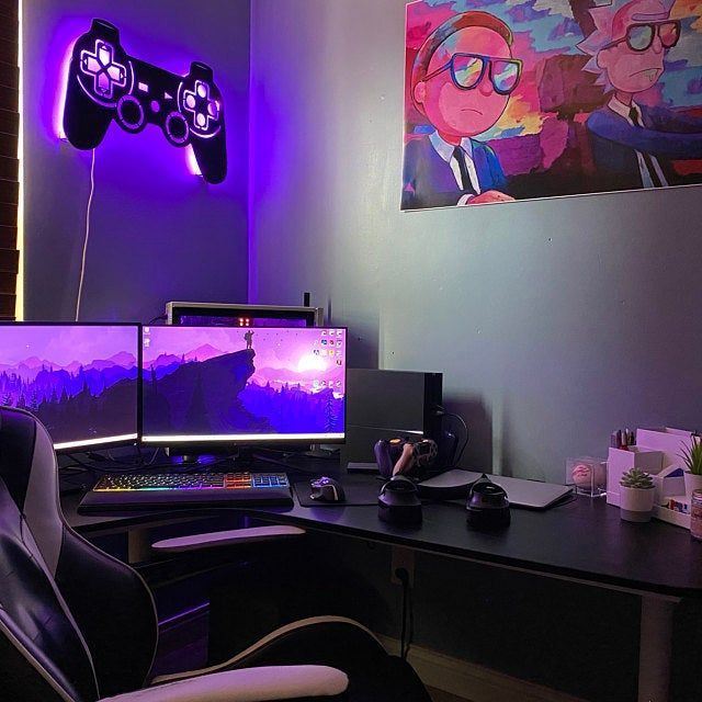 Led Lighted Playstation Controller Wall Art Video Game Art Game Room Decor Sign Ps1 Psx Ps2 Ps3 Ps4 Rgb Color Changing Led W Remote Game Room Decor Gaming Room Setup Video