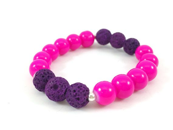 Diffuser Bracelet, Lava Beaded Bracelet, Kids Bracelet, Childs Diffuser Bracelet, Pink, Purple, Essential Oil Bracelet, Stretch Bracelet