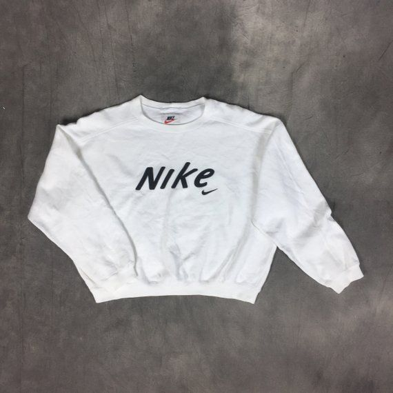 fb6082b8a1aba 90s Nike Swoosh Spellout Big Logo Nike Crop Top White Sweatshirt ...