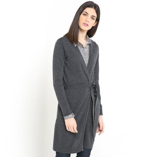 Image Długi sweter z paskiem, czysta wełna z merynosów LAURA CLEMENT