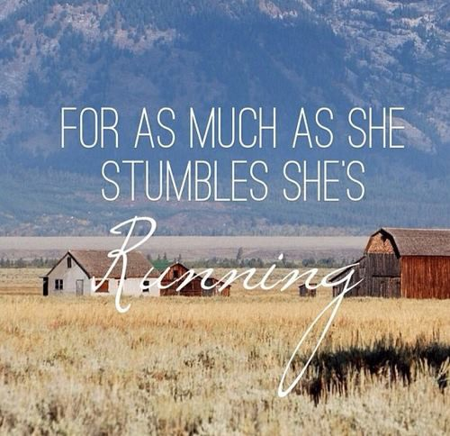 For as much as she stumbles she's running. With a magnolia or a gladiolus flower it would be pretty on my shoulder