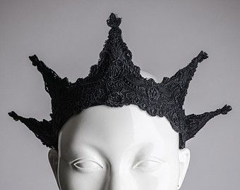 Black lace crown headpiece Spike headband Black tiara Handmade sculpturel jewelry Edgy fashion hairband EGA Goth Wicca Burning man .... sort of resembles the Statue Of Liberty's crown, doesn't it?