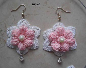 ¡Pendientes de flor de algodón de ganchillo! Joyas de ganchillo