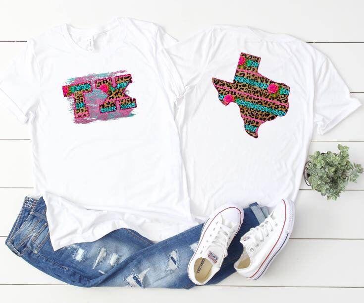 Leopard Texas Watercolor T Shirt Boho Chic Shirt Texas State