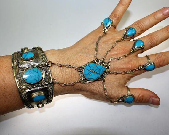 Handflower mit türkisen Steinen Tribal-Armspange Afghanische