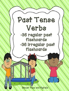 """$ This packet includes 72 past tense verb flashcards and targets both regular past tense AND irregular past tense verbs. Each card is in the form """"Today he/she/they (present tense verb). Yesterday he/she/they _______."""""""