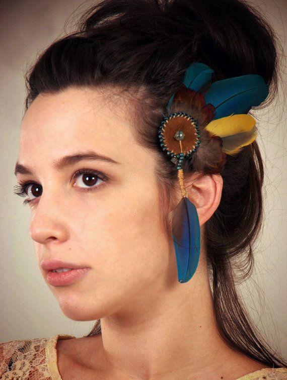 ஐ Hair Clip with Agate, Macaw and Pheasant Feathers ஐ