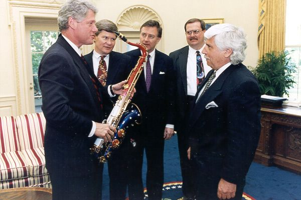 "Bill Clinton exclaimed ""This is funky. I never thought I'd see a 'PATRIOTIC SAXOPHONE."""