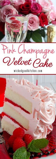 Pink Champagne Velvet Layer Cake by WickedGoodKitchen.com ~ Moist, tender white cake reminiscent of its buttermilk cake cousin, Red Velvet Cake, made with a champagne reduction and a hint of almond and vanilla. It is iced with Pink Champagne Buttercream and filled with Strawberry-Raspberry Filling for a truly romantic dessert experience. Perfect for Valentine's Day! | dessert recipe