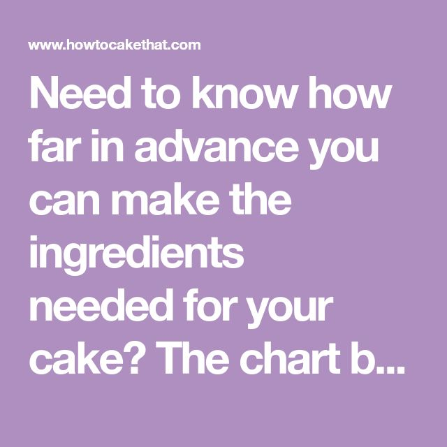 Need to know how far in advance you can make the ingredients neededfor your cake? The chart below shows how many days, weeks, or monthsingredients can be made before yourcake order is due. Most...