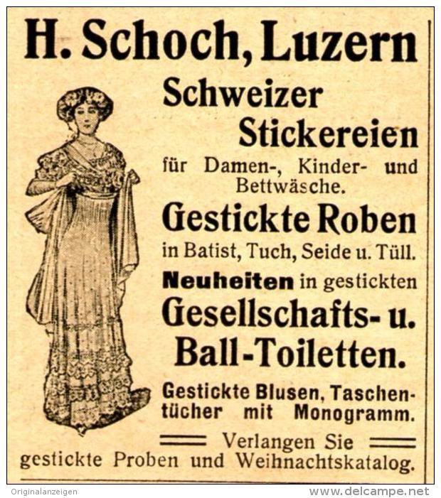 Original-Werbung/ Anzeige 1910 - SCHWEIZER STICKEREIEN / SCHOCH - LUZERN (SCHWEIZ) - ca. 45 x 50 mm